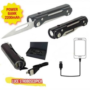"TORCIA A LED RICARICABILE ""SURVIVAL"" CON POWERBANK E COLTELLO"